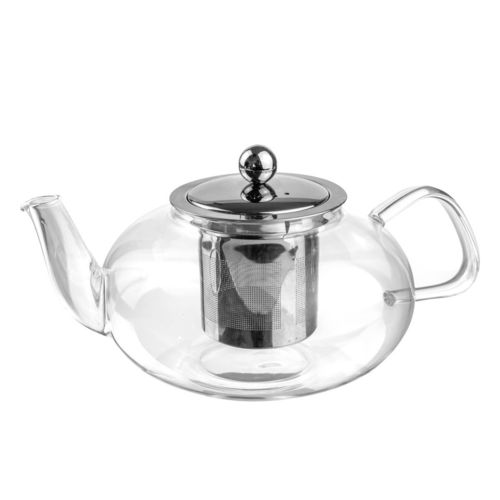 Glass Oval Teapot & Stainless Steel Infuser